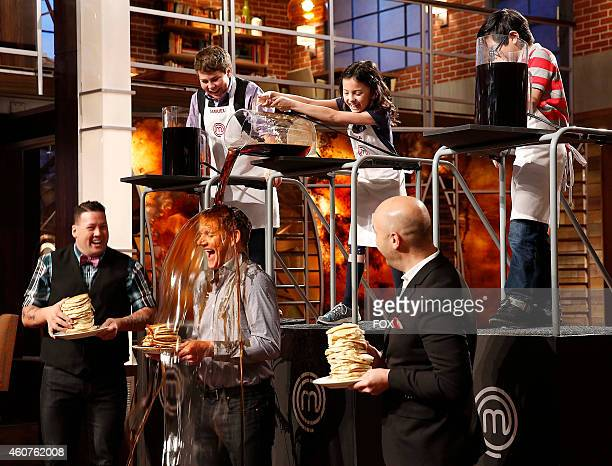 Judges Graham Elliot Gordon Ramsay and Joe Bastianich and contestants in the 'Junior Edition Flip It' episode of MASTERCHEF airing Tuesday Nov 11...