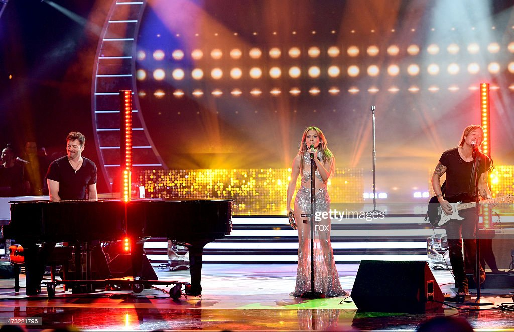 Judges Harry Connick Jr., Jennifer Lopez and Keith Urban perform onstage at FOX's 'American Idol XIV' Finale on May 13, 2015 at the Dolby Theater in Hollywood, California.