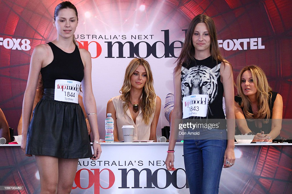 Judges <a gi-track='captionPersonalityLinkClicked' href=/galleries/search?phrase=Jennifer+Hawkins&family=editorial&specificpeople=202875 ng-click='$event.stopPropagation()'>Jennifer Hawkins</a> and Charlotte Dawson cast a keen eye over contestants at the Sydney audition for Season 8 of Australia's Next Top Model on January 19, 2013 in Sydney, Australia.