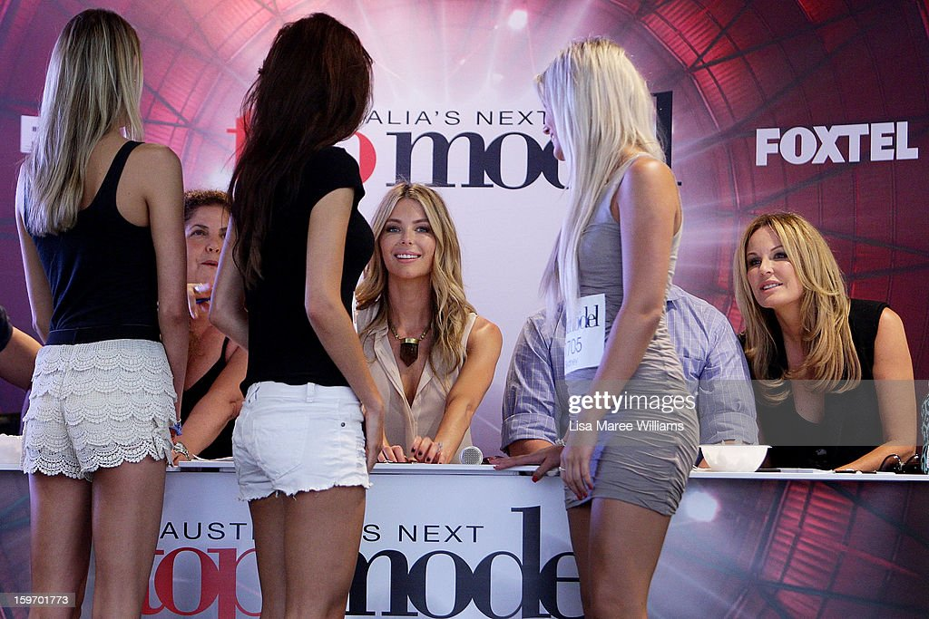 Judges <a gi-track='captionPersonalityLinkClicked' href=/galleries/search?phrase=Jennifer+Hawkins&family=editorial&specificpeople=202875 ng-click='$event.stopPropagation()'>Jennifer Hawkins</a> and Charlotte Dawson greet contestants at the Sydney audition for Season 8 of Australia's Next Top Model on January 19, 2013 in Sydney, Australia.