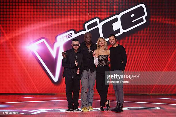 Judges Joel Madden Seal Delta Goodrem and Ricky Martin pose during 'The Voice' Final Four Photo Call at Fox Studios on June 16 2013 in Sydney...