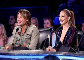 Judges Keith Urban and Jennifer Lopez onstage at FOX's 'American Idol XIV' Top 5 Revealed on April 22 2015 in Hollywood California