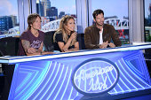 Judges Keith Urban Jennifer Lopez and Harry Connick Jr arrive at the taping of AMERICAN IDOL XIV on Sunday Aug 3 2014 at the Nashville Music City...
