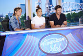 Judges Keith Urban Jennifer Lopez and Harry Connick Jr at the taping of American Idol XV on Aug 22 in Little Rock AK