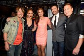 Judges Keith Urban Jennifer Lopez and Harry Connick Jr with Alex Morgan and Abby Wambach of the National Woman's Soccer Team onstage at FOX's...