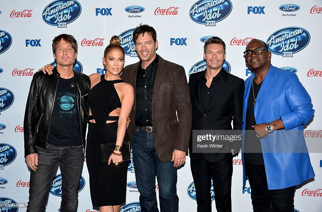 Judges Keith Urban, Jennifer Lopez, Harry Connick, Jr. host Ryan Seacrest and Randy Jackson attend FOX's 'American Idol XIII' finalists party at Fig & Olive Melrose Place on February 20, 2014 in West Hollywood, California.