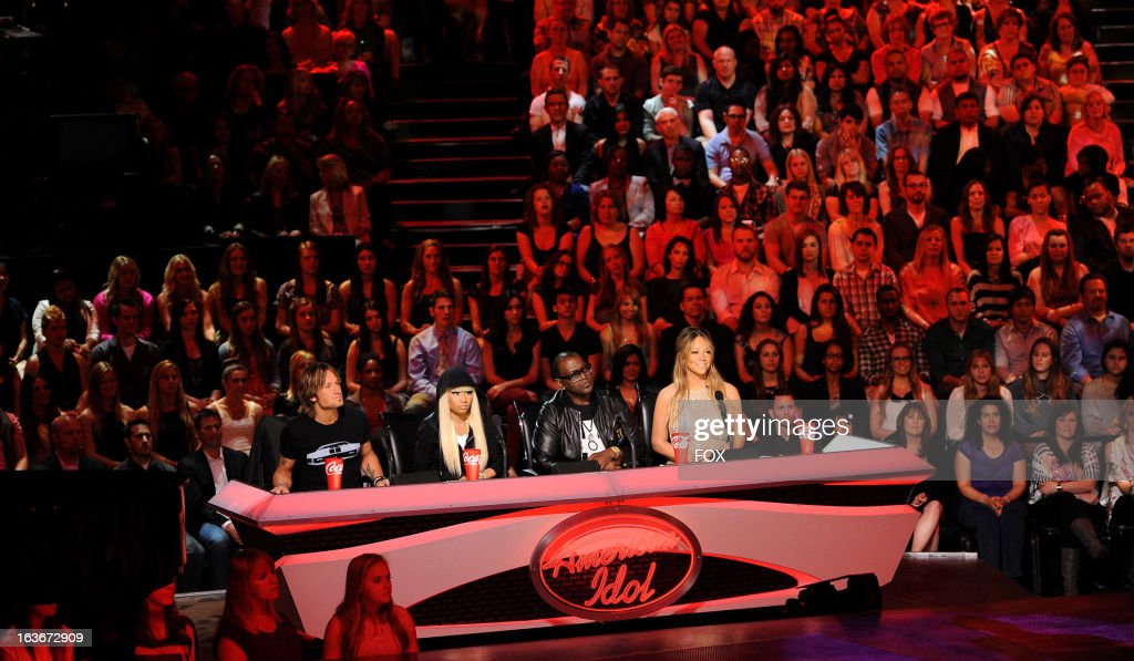 Judges Keith Urban, Nicki Minaj, Randy Jackson and Mariah Carey on FOX's 'American Idol' Season 12 Top 10 To 10 Live Performance Show on March 13, 2013 in Hollywood, California.
