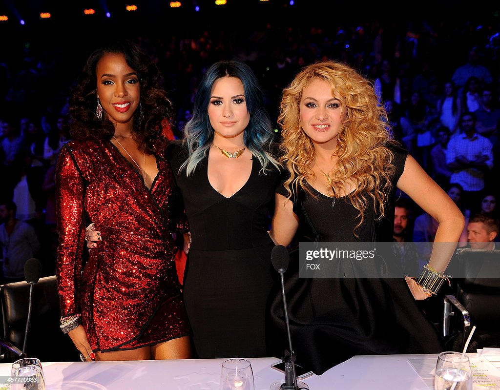Judges Kelly Rowland, Demi Lovato and Paulina Rubio on FOX's 'The X Factor' Season 3 Top 3 Live Finale Performance Show on December 18, 2013 in Hollywood, California.
