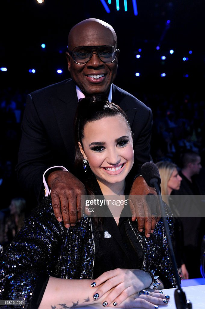 Judges L.A. Reid and <a gi-track='captionPersonalityLinkClicked' href=/galleries/search?phrase=Demi+Lovato&family=editorial&specificpeople=4897002 ng-click='$event.stopPropagation()'>Demi Lovato</a> at FOX's 'The X Factor' Season 2 Top 4 Live Performance Show on December 12, 2012 in Hollywood, California.