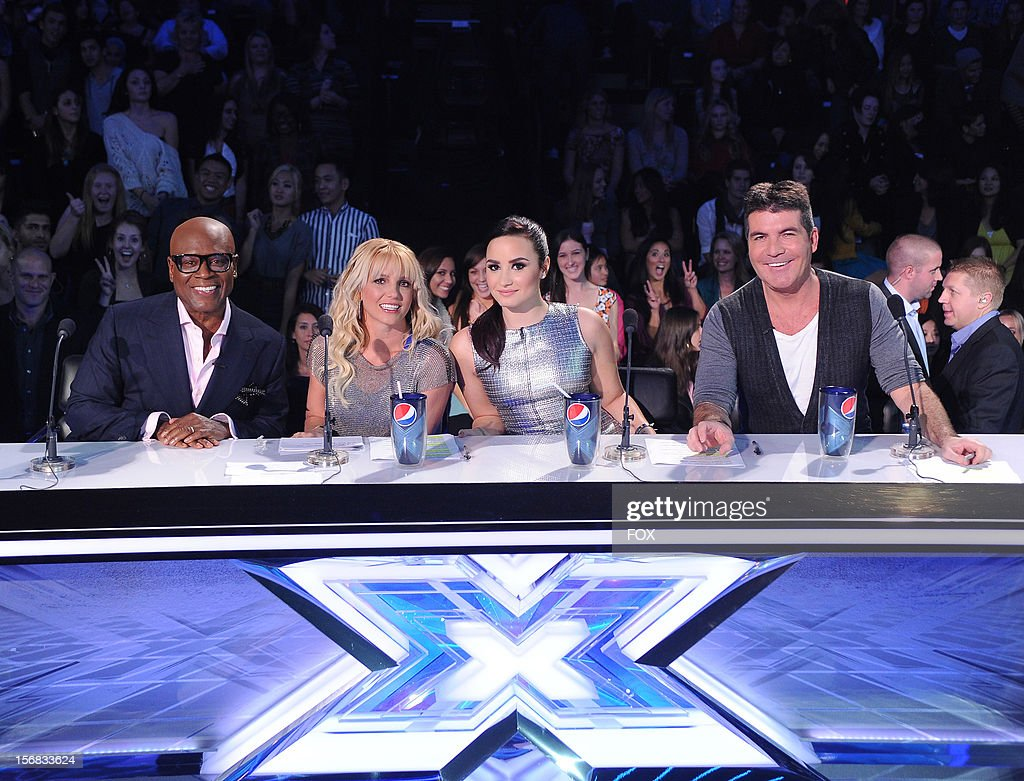 Judges L.A. Reid, Britney Spears, Demi Lovato and Simon Cowell at FOX's 'The X Factor' Season 2 Top 10 Live Performance Show on November 21, 2012 in Hollywood, California.