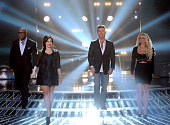 Judges LA Reid Demi Lovato Simon Cowell and Britney Spears onstage at FOX's 'The X Factor' Season 2 Top 6 Live Performance Show on December 5 2012 in...