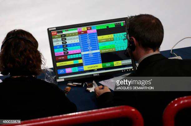 Judges look at their scoring screen as Florent Amodio of France performs during the figure skating event at the 2013 Eric Bompard trophy on November...