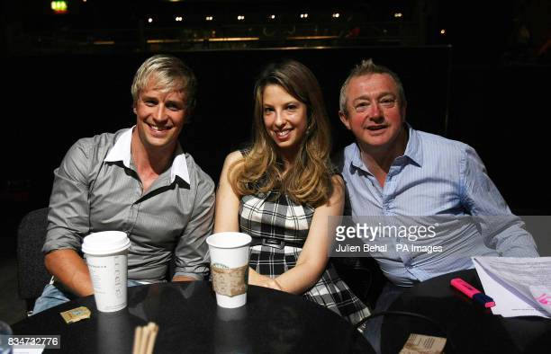 Judges Louis Walsh Kian Egan and Sheila Burgel watch auditions at the Co Tipperary the Pod in Dublin for impresario Walsh's latest girl band