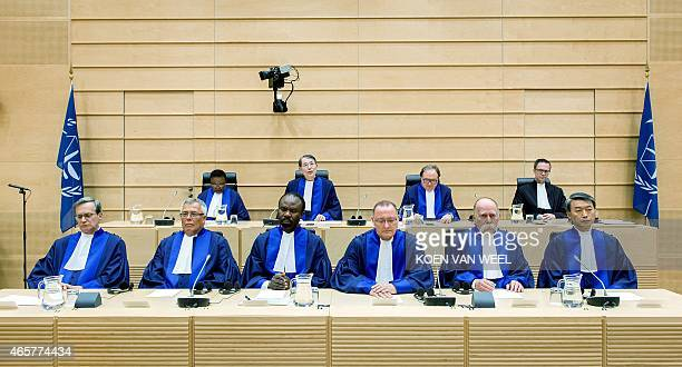 Judges Marc Perrin de Brichambaut Piotr Hofmanski Antoine KesiaMbe Mindua Bertram Schmitt Peter Kovacs and Changho Chung during a swearingin ceremony...