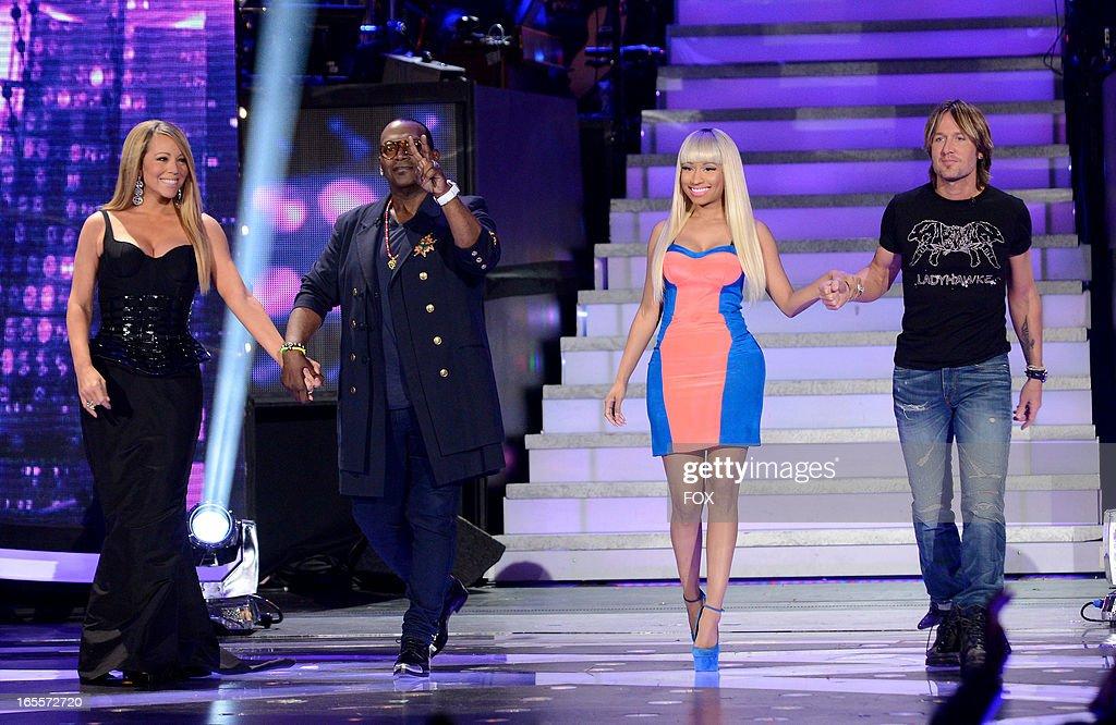 Judges Mariah Carey, Randy Jackson, Nicki Minaj and Keith Urban onstage at FOX's 'American Idol' Season 12 Top 7 to 6 Live Elimination Show on April 4, 2013 in Hollywood, California.