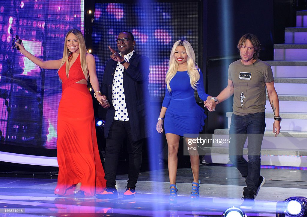 Judges Mariah Carey, Randy Jackson, Nicki Minaj and Keith Urban onstage at FOX's 'American Idol' Season 12 Top 6 To 5 Live Elimination Show on April 11, 2013 in Hollywood, California.
