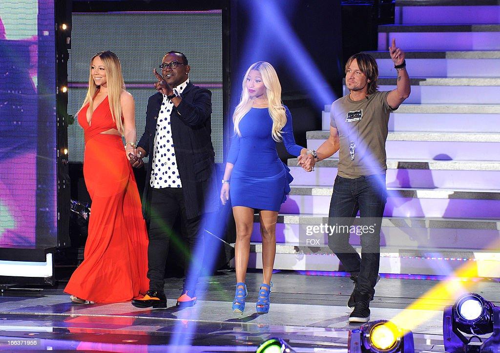 Judges Mariah Carey, Randy Jackson, Nicki Minaj and Keith Urban onstage at FOX's 'American Idol' Season 12 Top 6 To 5 Live Elimination Show on April 11, 2013 in Hollywood, California.