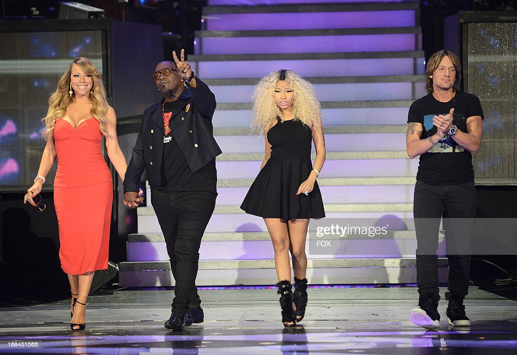 Judges Mariah Carey, Randy Jackson, Nicki Minaj and Keith Urban onstage at FOX's 'American Idol' Season 12 Top 3 to 2 Live Elimination Show on May 9, 2013 in Hollywood, California.