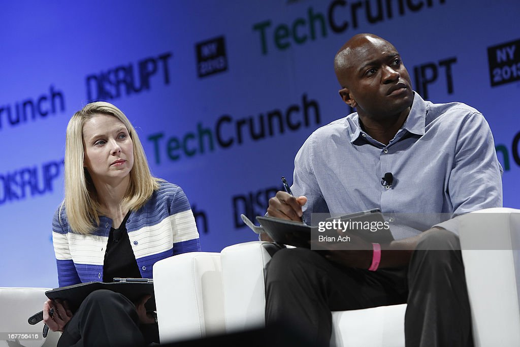 Judges Marissa Mayer of Yahoo! and Ime Archibong of Facebook speak onstage at the TechCrunch Disrupt NY 2013 at The Manhattan Center on April 29, 2013 in New York City.