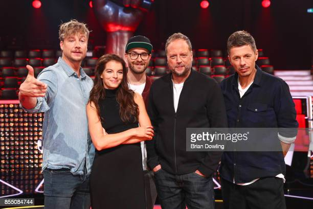 Judges Mark Forster Samu Haber Yvonne Catterfeld writer Smudo and DJ Michi Beck attend the 'The Voice of Germany' photo call on September 28 2017 at...