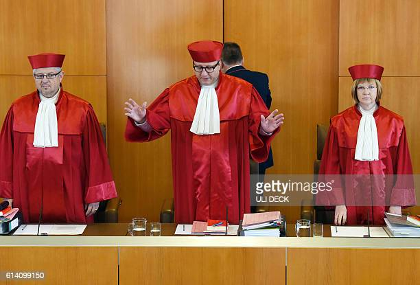 Judges of the Second Senate at the Federal Constitutional Court Peter Huber Andreas Vosskuhle and Monika Hermanns arrive for a hearing of an...