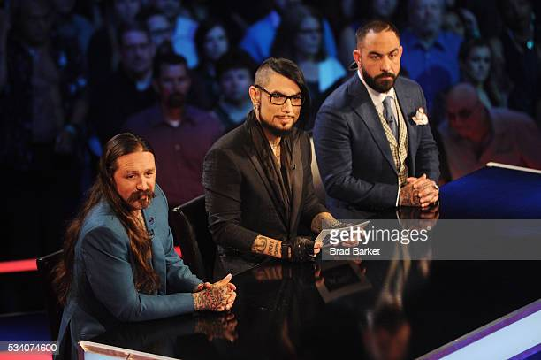 Judges Oliver Peck Dave Navarro and Chris Nunez appear on stage during the 'Ink Master' season 7 LIVE finale on May 24 2016 in New York City