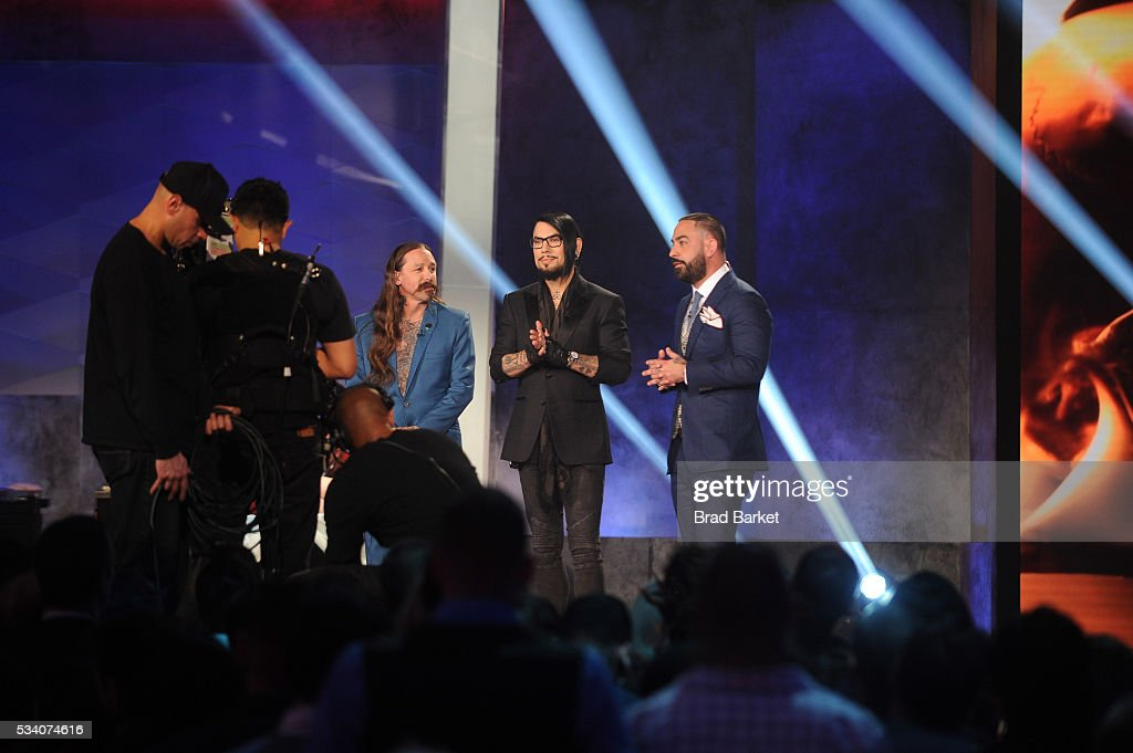 Judges Oliver Peck, <a gi-track='captionPersonalityLinkClicked' href=/galleries/search?phrase=Dave+Navarro&family=editorial&specificpeople=202159 ng-click='$event.stopPropagation()'>Dave Navarro</a>, and Chris Nunez appear on stage during the 'Ink Master' season 7 LIVE finale on May 24, 2016 in New York City.
