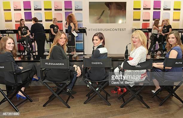 Judges Sarah Sharp Head of Beauty at Superdrug Alessandra Steinherr Beauty Director at Glamour Magazine Cheryl Fernandez Versini makeup artist Val...