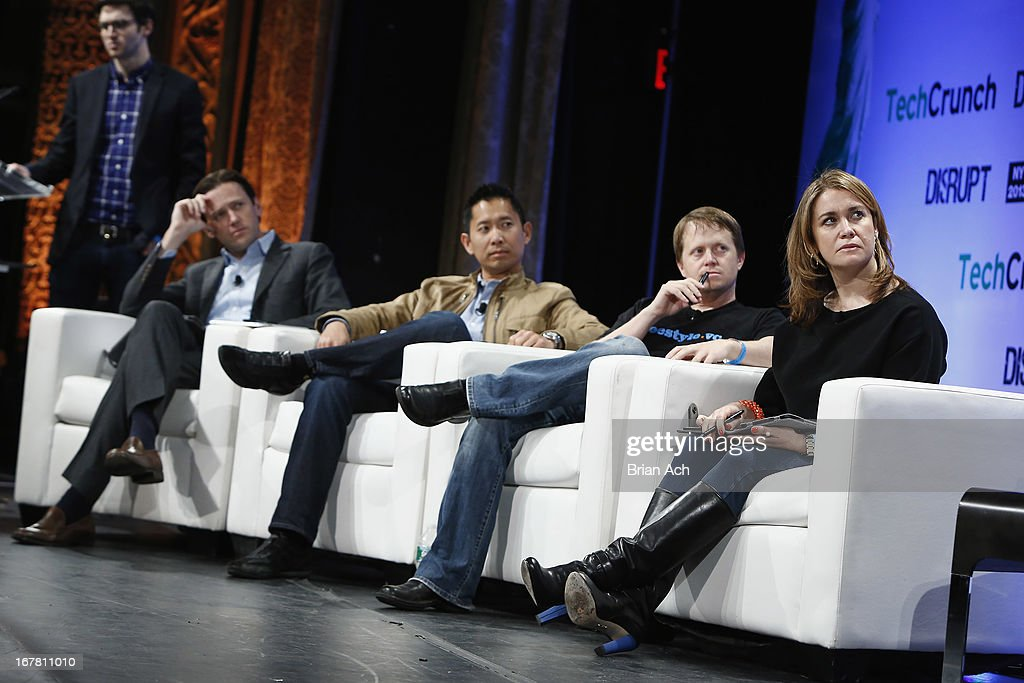 Judges Scott Stanford, Peter Pham, Dave Samuel and Heidi Messer speak onstage at the TechCrunch Disrupt NY 2013 at The Manhattan Center on April 30, 2013 in New York City.