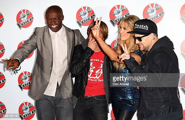 Judges Seal Keith Urban Delta Goodrem and Joel Madden attend The Voice Final Four Press Conference on June 12 2012 in Sydney Australia
