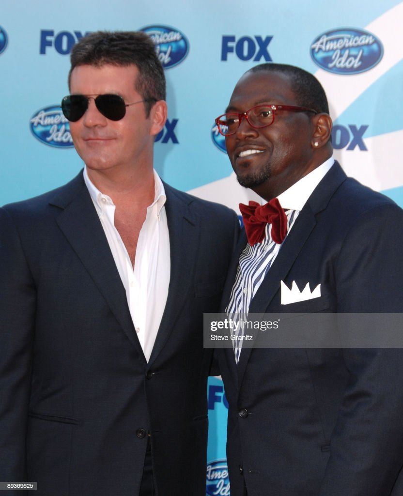 Judges Simon Cowell and Randy Jackson arrive at the American Idol Season 8 Grand Finale held at Nokia Theatre L.A. Live on May 20, 2009 in Los Angeles, California.