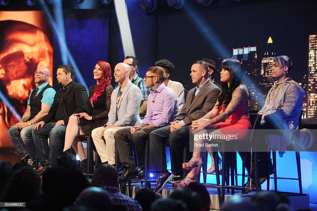 Judges St. Marq, James Vaughn, Megan Jean Morris, Corey Davis, Jesse Smith, Alex Rockoff, Chris Gherman, Sarah Miller, Jime Litwalk, Ashley Velazquez, and Picasso Dular appear on stage during the 'Ink Master' season 7 LIVE finale on May 24, 2016 in New York City.