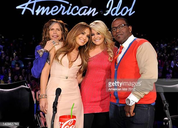 Judges Steven Tyler and Jennifer Lopez former American Idol contestant Lauren Alaina and judge Randy Jackson onstage at FOX's 'American Idol' Season...