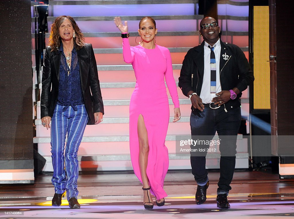 Judges Steven Tyler, Jennifer Lopez and Randy Jackson onstage at FOX's 'American Idol' Season 11 Top 10 To 9 Live Elimination Show on March 22, 2012 in Hollywood, California.
