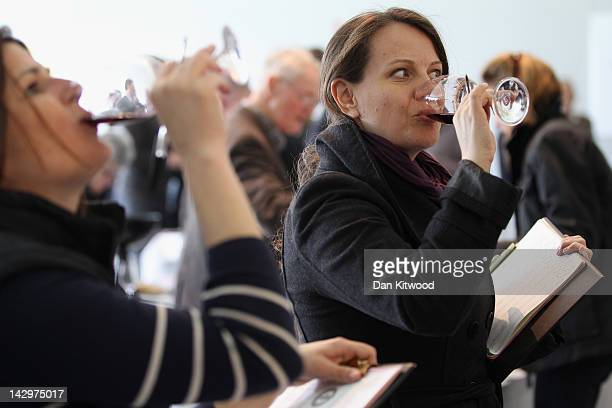 Judges taste a red wine at the 'International Wine Challenge' event at Lords Cricket ground on April 16 2012 in London England Judges will taste over...
