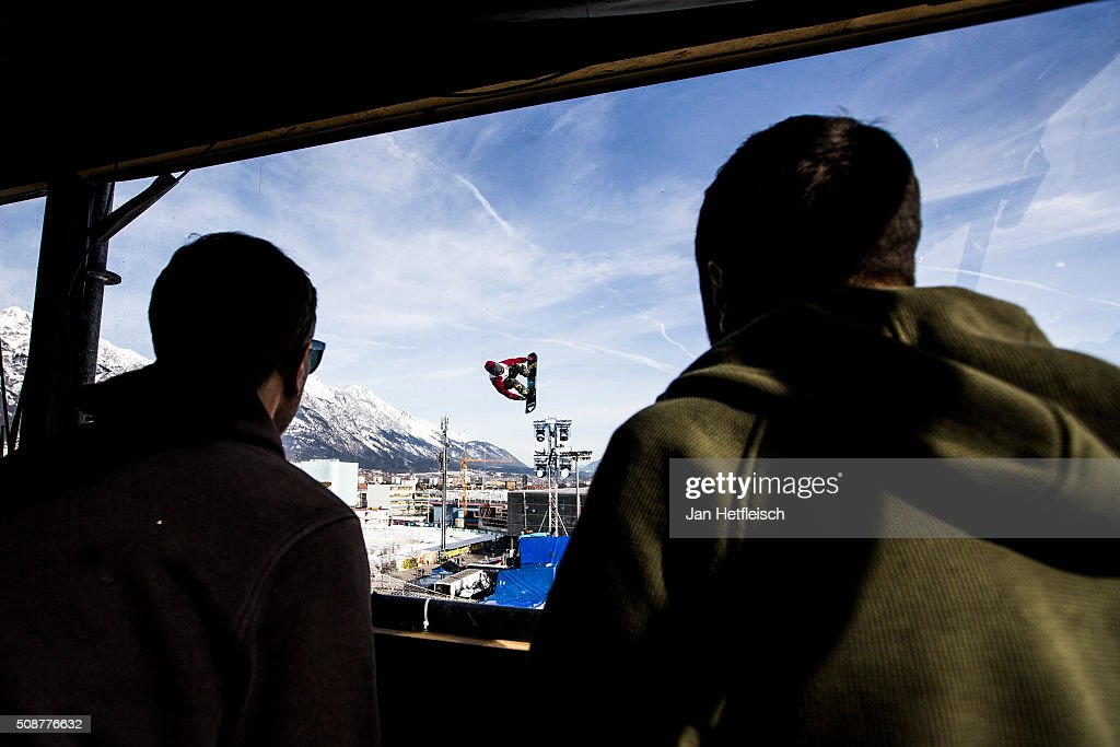 Judges watch for a rider during Air and Style Festival February 6, 2016 in Innsbruck, Austria.