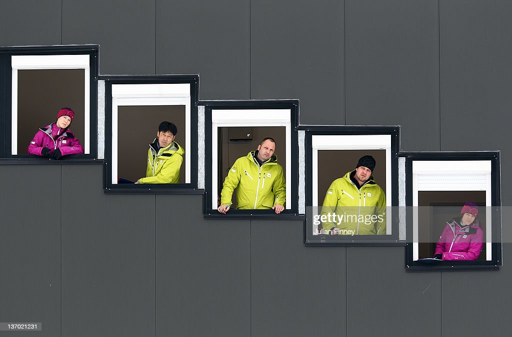Judges watch from their windows in the Ski Jump during the Winter Youth Olympic Games Ski Jumping at Seefeld Arena on January 14, 2012 in Seefeld, Austria.