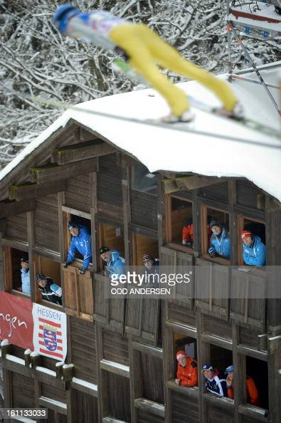 Judges watch the flight of a jumper during the FIS Ski Jumping World Cup team competition on the Muehlenkopfschanze hill in Willingen western Germany...