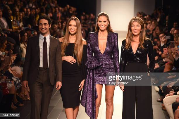 Judges Zac Posen Jessica Alba Heidi Klum and Nina Garcia introduce the Project Runway fashion show during New York Fashion Week at Gallery 1 Skylight...
