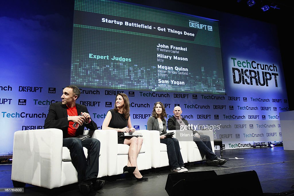 Sam Yagan, Megan Quinn, Hilary Mason and John Frankel speak onstage at the TechCrunch Disrupt NY 2013 at The Manhattan Center on April 29, 2013 in New York City.