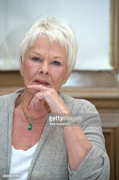 Judi Dench at 'The Second Best Marigold Hotel' Press Conference at the Claridges Hotel on February 14 2015 in London England