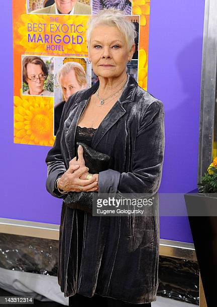 Judi Dench attends the 'The Best Exotic Marigold Hotel' New York premiere at the Ziegfeld Theater on April 23 2012 in New York City