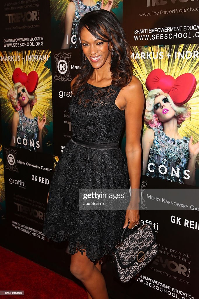 Judi Shekoni arrives at Markus + Indrani Icons book launch party hosted by Carmen Electra benefiting The Trevor Project at Merry Karnowsky Gallery & Graffiti on January 10, 2013 in Los Angeles, California.