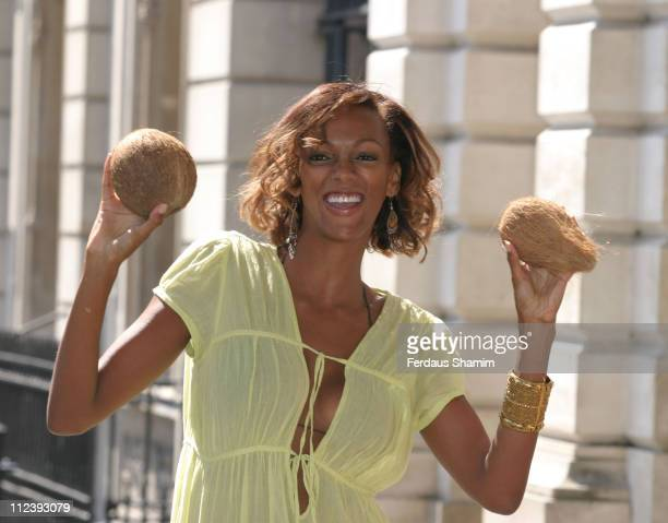 Judi Shekoni during Guinness World Record Attempt at Longest Kiss June 8 2005 at Covent Garden in London Great Britain