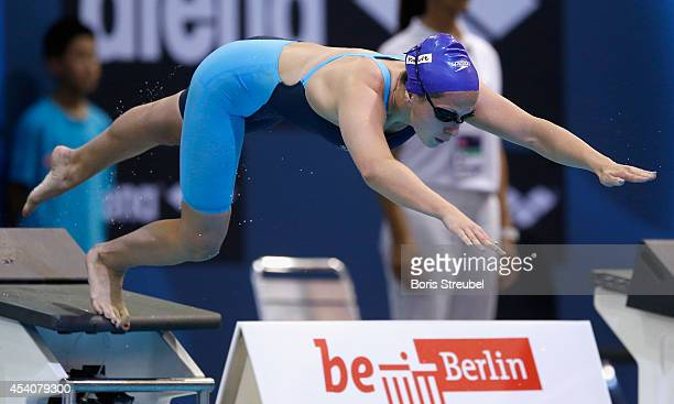 Judit Ignacio Sorribes of Spain takes the start of the women's 200m butterfly final during day 12 of the 32nd LEN European Swimming Championships...