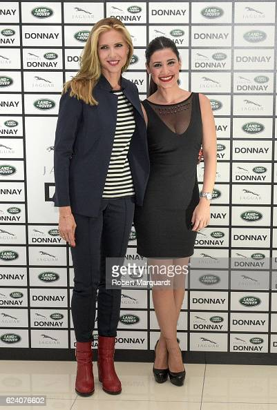 Judit Masco and Ares Teixido pose during a photocall for the new Jaguar Land Rover Donnay space inauguration on November 17 2016 in Barcelona Spain