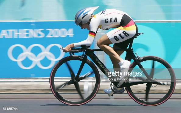 Judith Arndt of the Germany competes in the women's road cycling individual time trial on August 18 2004 during the Athens 2004 Summer Olympic Games...