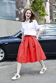 Judith Bradlwarter poses wearing a Chicwish skirt and Adidas shoes on June 20 2015 in Milan Italy