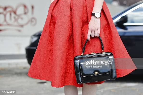 Judith Bradlwarter poses wearing a Chicwish skirt on June 20 2015 in Milan Italy