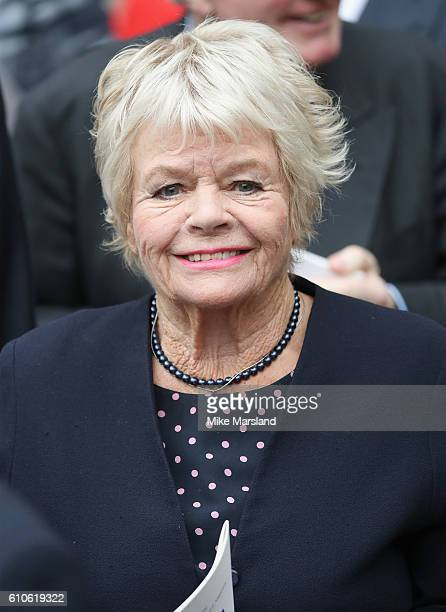 Judith Chalmers leaves a memorial service for the late Sir Terry Wogan at Westminster Abbey on September 27 2016 in London England